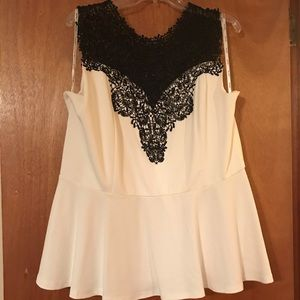 Black and White/Creme Lace Top